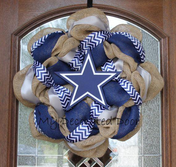 Burlap Dallas Cowboys Wreath  Navy Silver and by MyDecoratedDoor