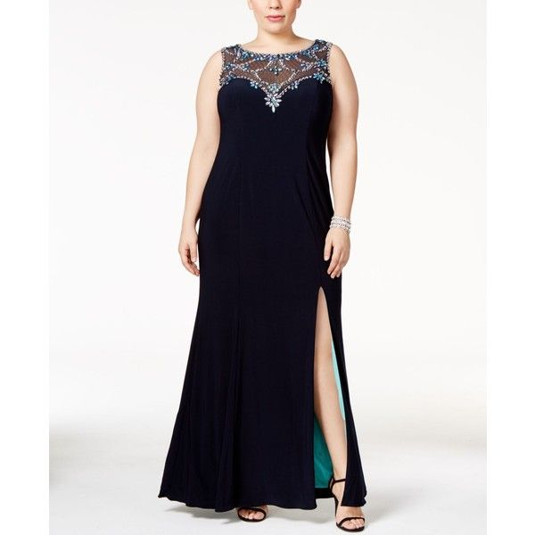 Betsy & Adam Plus Size Embellished Illusion Sweetheart Gown ($279) ❤ liked on Polyvore featuring plus size women's fashion, plus size clothing, plus size dresses, plus size gowns, navy, white ball gowns, plus size formal gowns, formal dresses, navy blue formal dress and plus size evening dresses