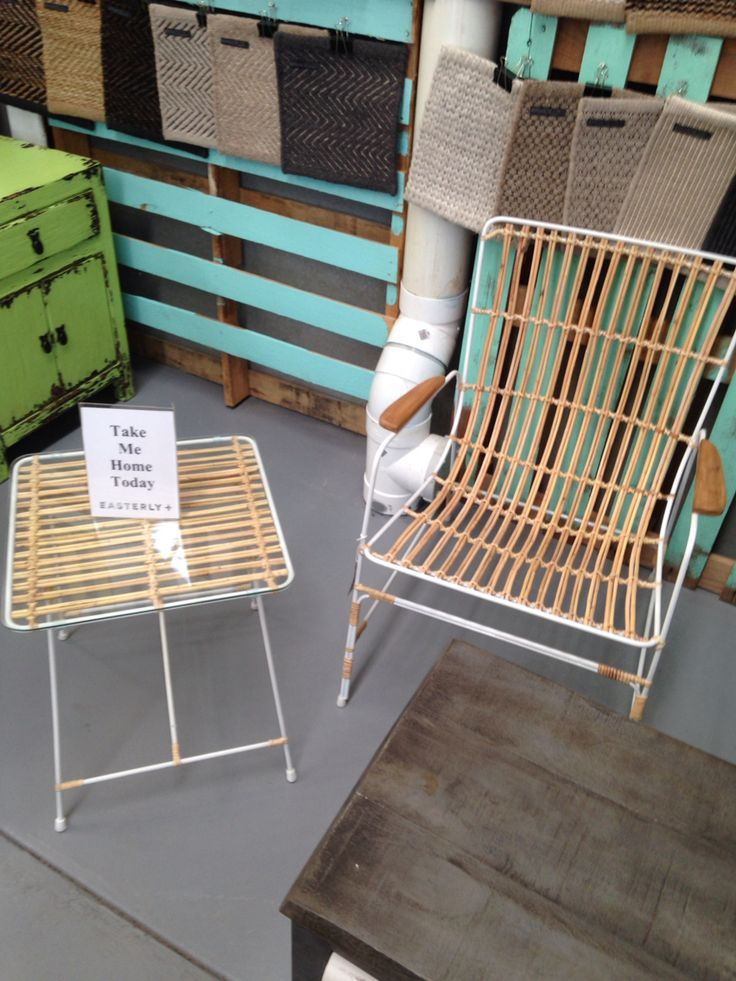 Outdoor set in store at Easterly. This set comes with two chairs and a table