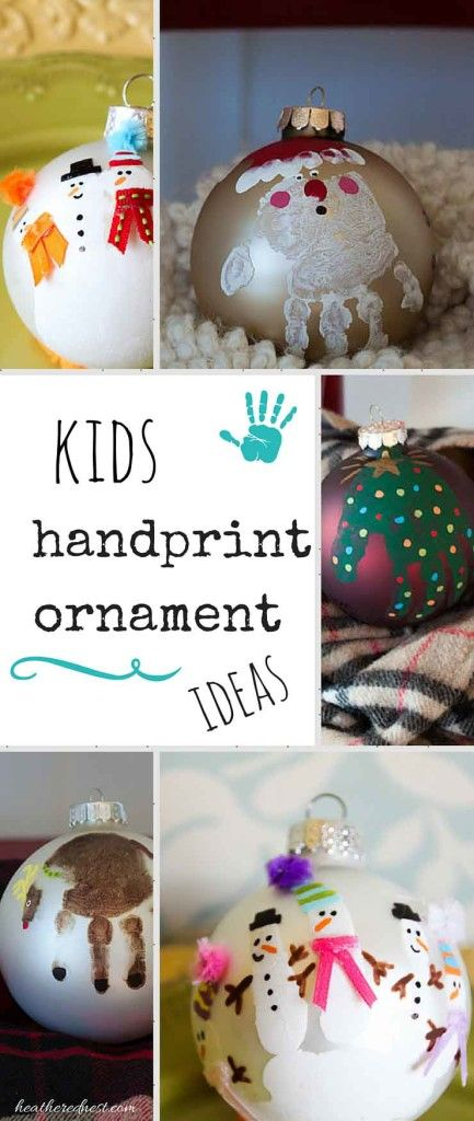 31 Days of Handmade Christmas Ornaments - DIY Kids Handprint Ornaments - Heathered Nest