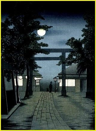 Kiyochika Kobayashi Torii and Full Moon, no dated