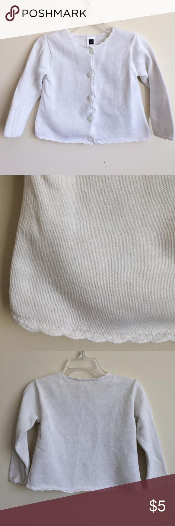Girls Baby Gap Outlet Cardigan 12-18 Months This white sweater buttons down the front. There is a faint stain on the front. Please see the pictures. Baby Gap Shirts & Tops Sweaters