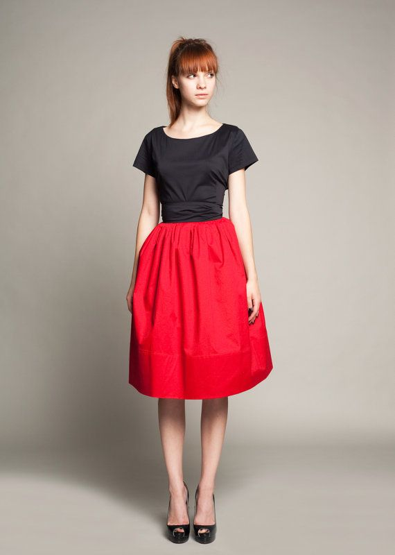 Custom made Black and Red Cotton Dress by by mrspomeranz on Etsy, £259.00
