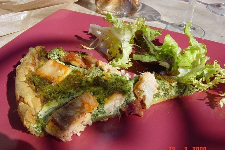 Quiche au saumon, épinards et chorizo
