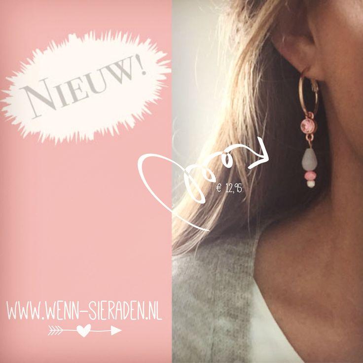 Prachtige oorbellen in rosé goud €12,95 op www.wen-sieraden.nl  http://www.wenn-sieraden.nl/oorbellen/oorringen-rose-goud-roze-