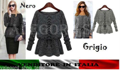 Maglione-ELEGANTE-CORDINI-grigio-GREY-CASUAL-donna-jersey-sweater-pullover-WOMEN