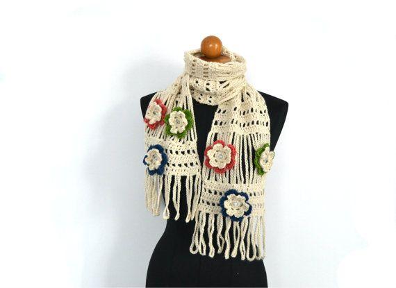 Elegante sciarpa in pizzo stola color panna lavorata a di VereV