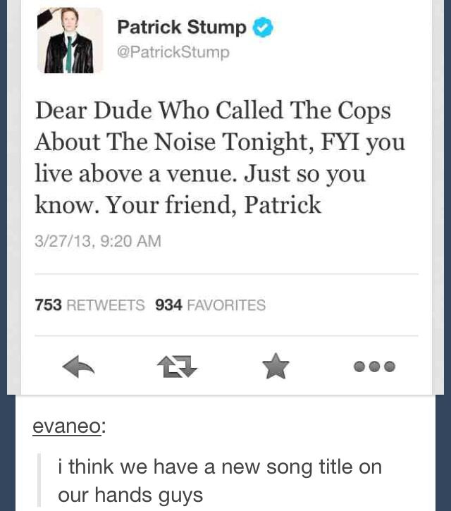 Patrick Stump from Fall Out Boy gets sassy