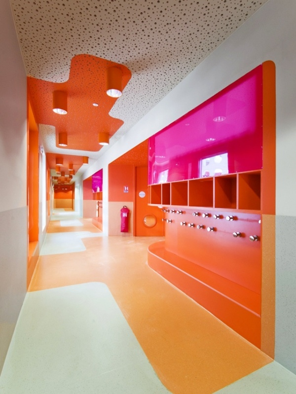 Colorful Contemporary Interiors Orange And Magenta Lcole Polyvalente Claude Bernard Primary School