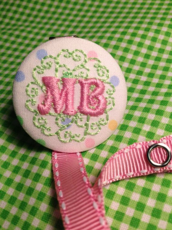 Monogrammed Embroidered Pacifier Clip