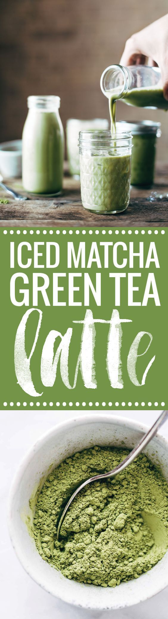 Iced Matcha Green Tea Latte - 3 ingredient perfection for summer! almond milk, honey or agave, and matcha powder. | http://pinchofyum.com