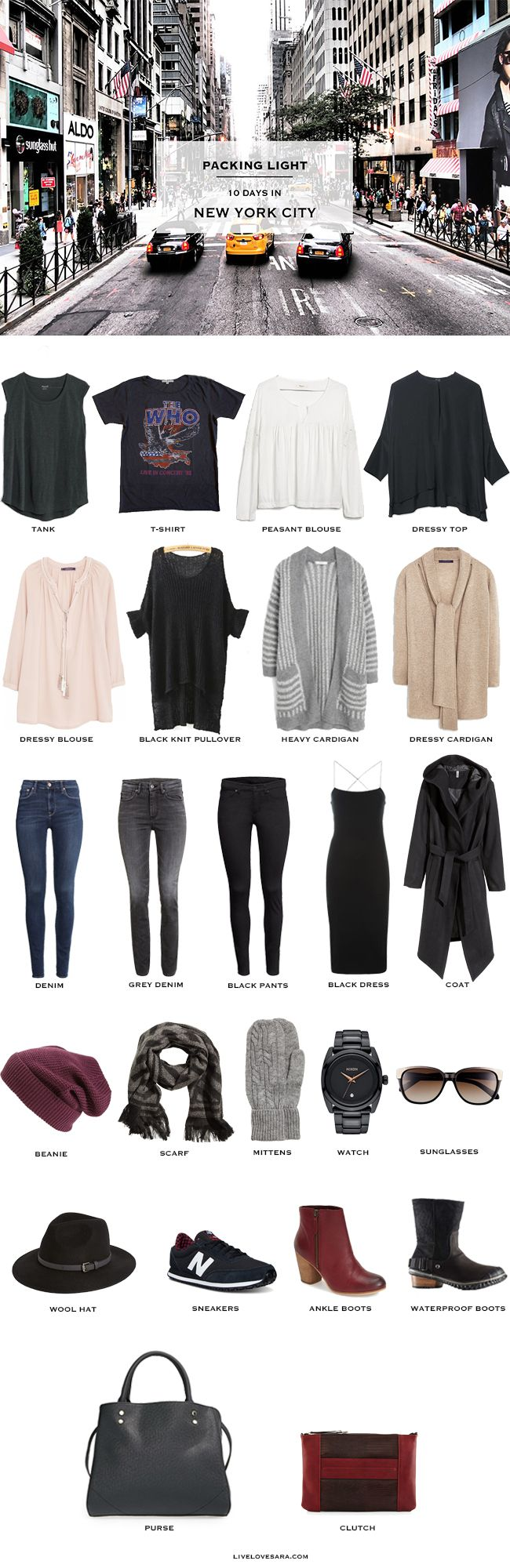 What to Pack for New York City it is a 10 day packing light list and can easily be made for less or more days. In NYC the month of December is usually cool but not too cold yet, wet, and slushy.
