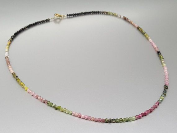Check out Fine necklace with tiny beads of multi color Tourmaline and gold plated clasp - gift idea - holiday season on gemorydesign