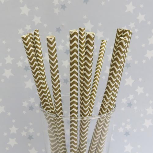 Pailles en papier Chevrons Gold Or pour recevoir ses invités ! Ludiques et décoratives !  Noël Anniversaire Apéritif ...  Boutique en ligne la caverne arc en ciel