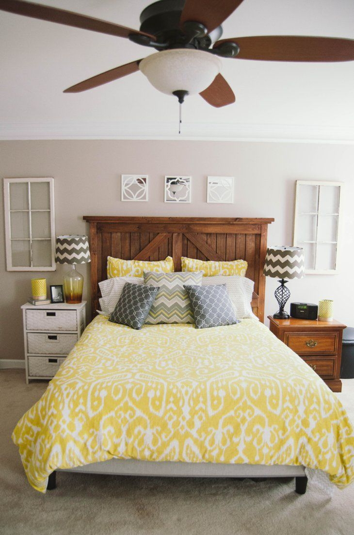 Home Decor Our Master Bedroom Diy Barn Door Headboard Yellow And Gray Chevron And Ikat
