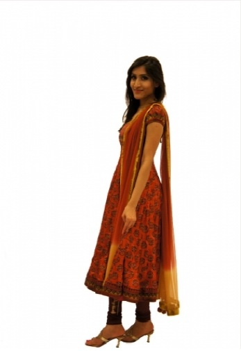 Golden Rust Anarkali    Silk printed anarkali with Indian motifs and stone work embroidery. Perfect for dinners and semi-formal events.    http://czari.in/store/viewproduct.php?show=Women=13=160