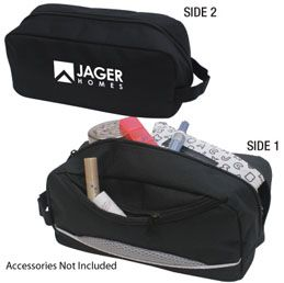 B486BK: The Dependable   600D polyester toiletry bag  Includes zippered front pocket and carry handle  Available in Black, Royal Blue and Red