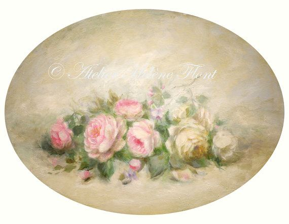 Oval painting Antique rose arrangement par TheFrenchCountryShop