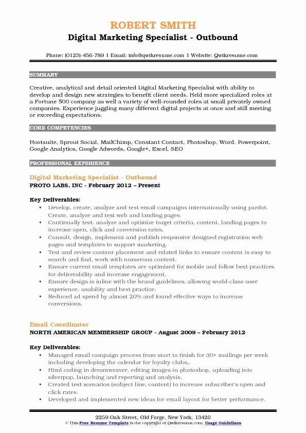 40 Digital Marketing Resume Sample In 2020 Sales Resume Sales