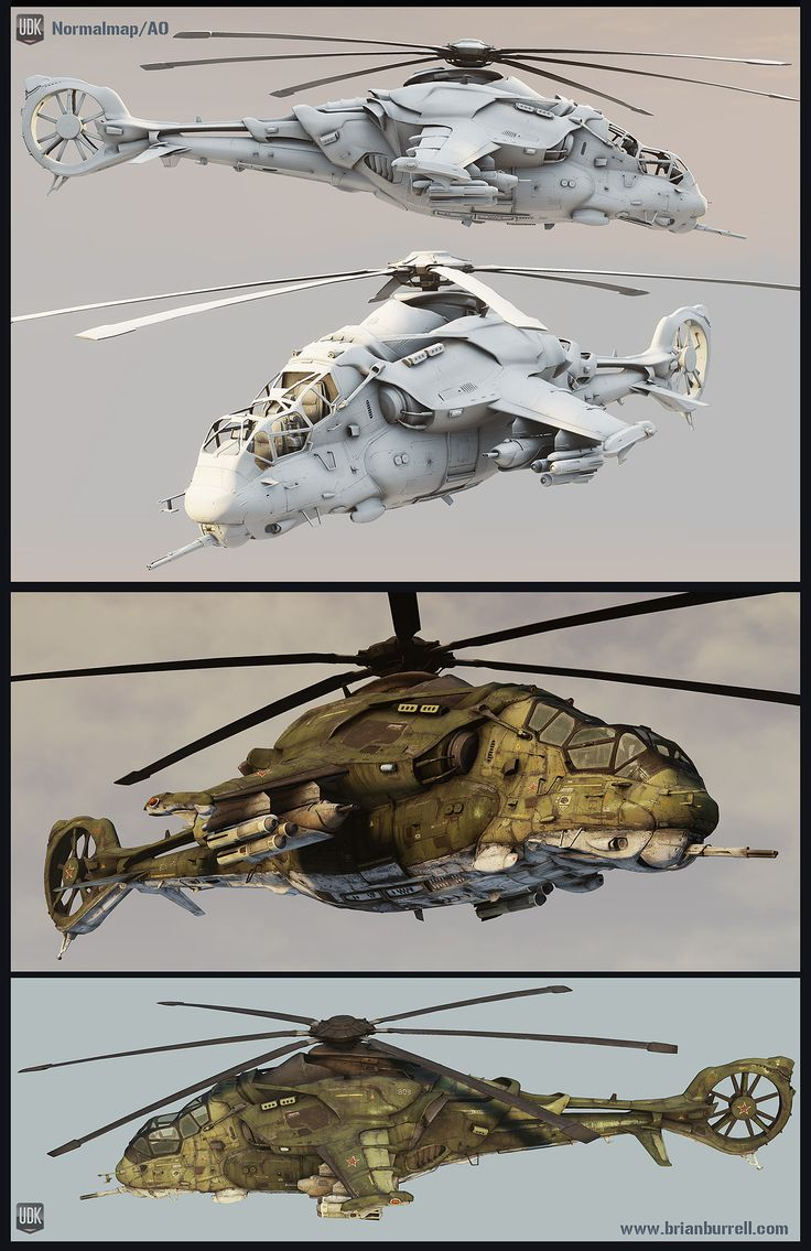 Futuristic Russian Helicopter Hind inspired Polycount