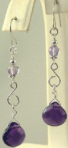Amethyst Scroll Gemstone Earrings