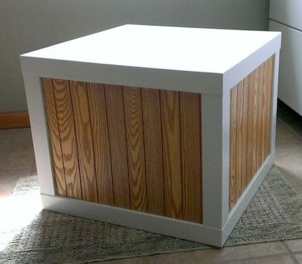 #Lack #Tisch von #Ikea mit #Holzverkleidung