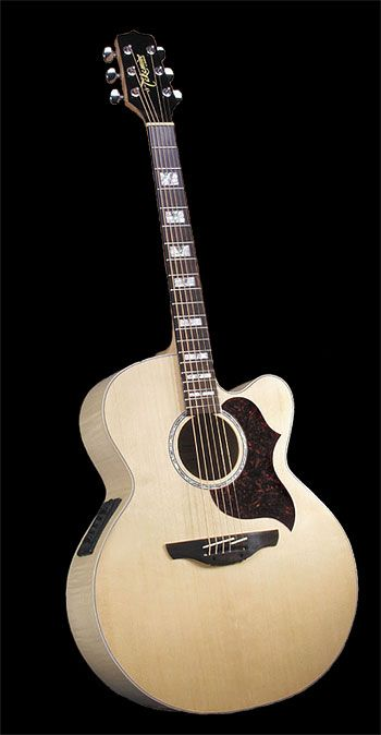 Takamine EG523SC:  This is my acoustic guitar.  Sounds very good when plugged in but a little thin in the low end when unplugged, despite its size.