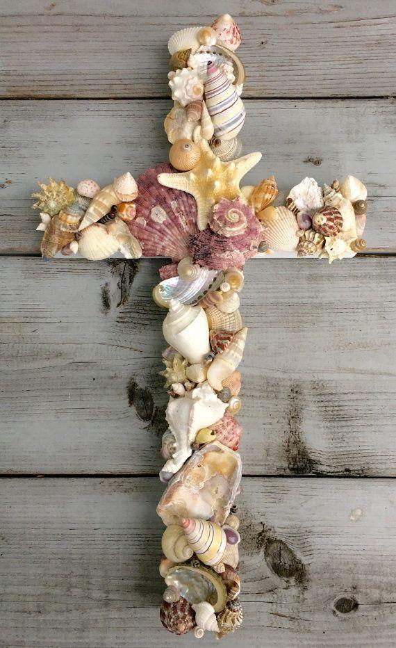 Seashell Cross/Beach House Decor/Reclaimed Wood by MyHoneypickles
