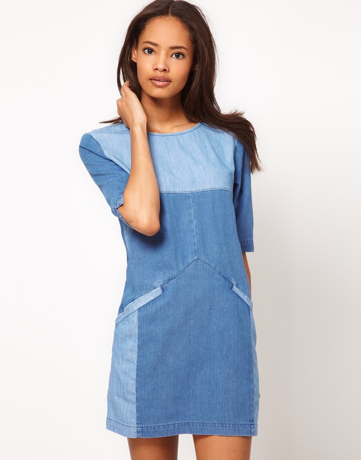 our graphic designer is wearing this denim dress today - its even more darling in person! $63
