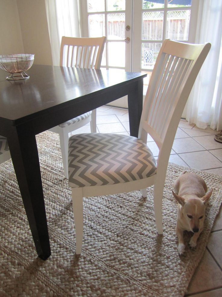 Recovering Dining Chairs In Chevron Pattern, But In A Bolder Color.