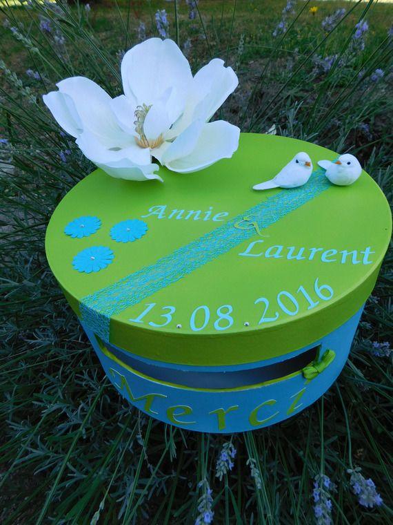 Urne de mariage vert anis et bleu turquoise www.lababyshowerdemaman.fr