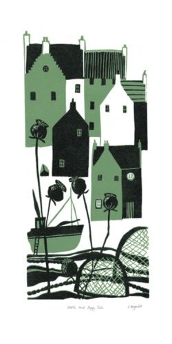 Creels and Poppy Pods linocut by Liz Myhill