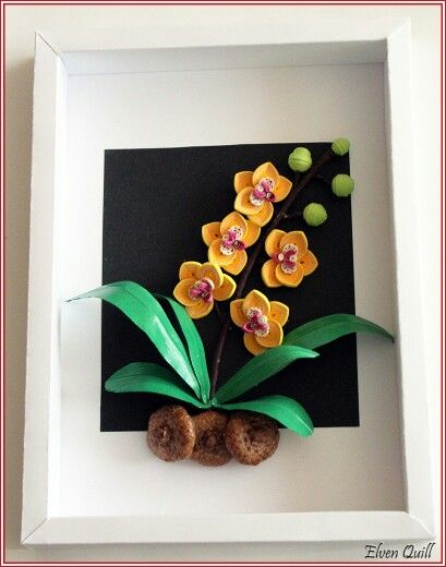 Yellow Orchid quilling painting by Elven Quill  www.facebook.com/elven.quill