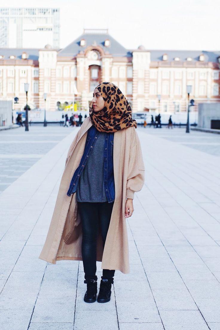Long camel varsity style coat & leopard print scarf
