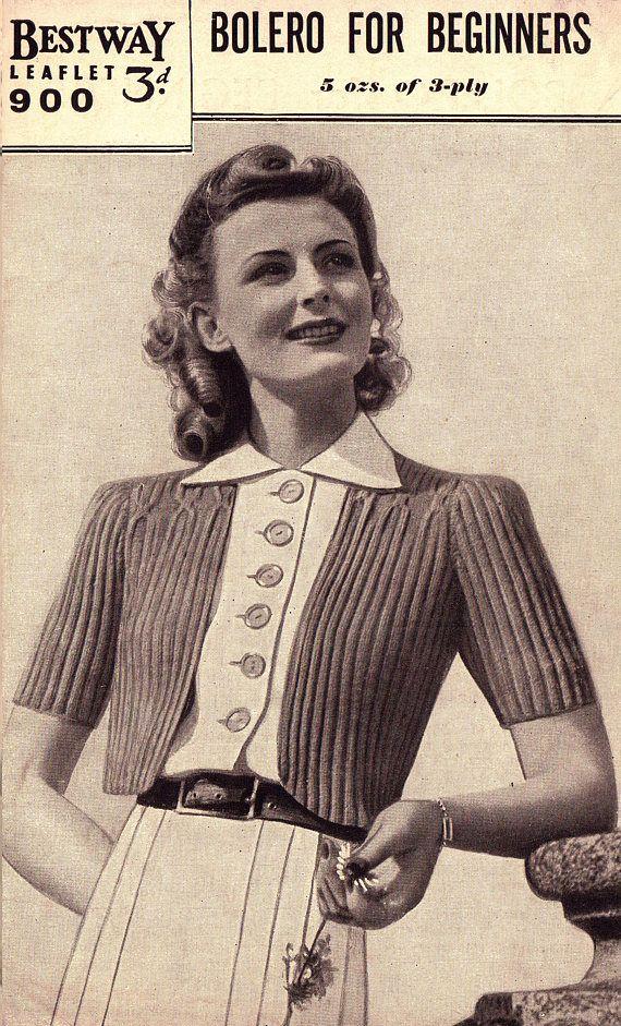 PDF Vintage 1940s Womens Ladies Darling Bolero Knitting