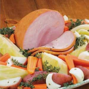 Irish Boiled Dinner...can make either with ham or corn beef plus carrots, potatoes, onions, and cabbage