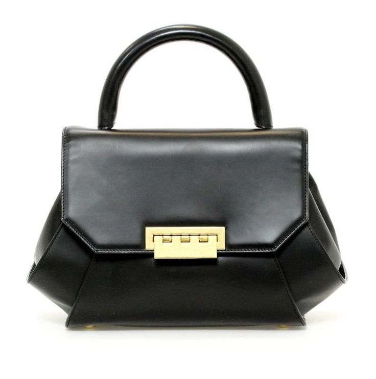 Zac by Zac Posen Black Leather 'Posen Pouch' Handbag #ZacbyZacPosen #Satchel