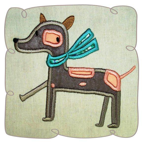 Shawna with Scarf Dog Applique Machine Embroidery Design Pattern-INSTANT DOWNLOAD