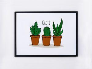Cacti Illustrated Print - on trend: cactus | Cactus Decor | Pinterest | Cacti and Cactus decor