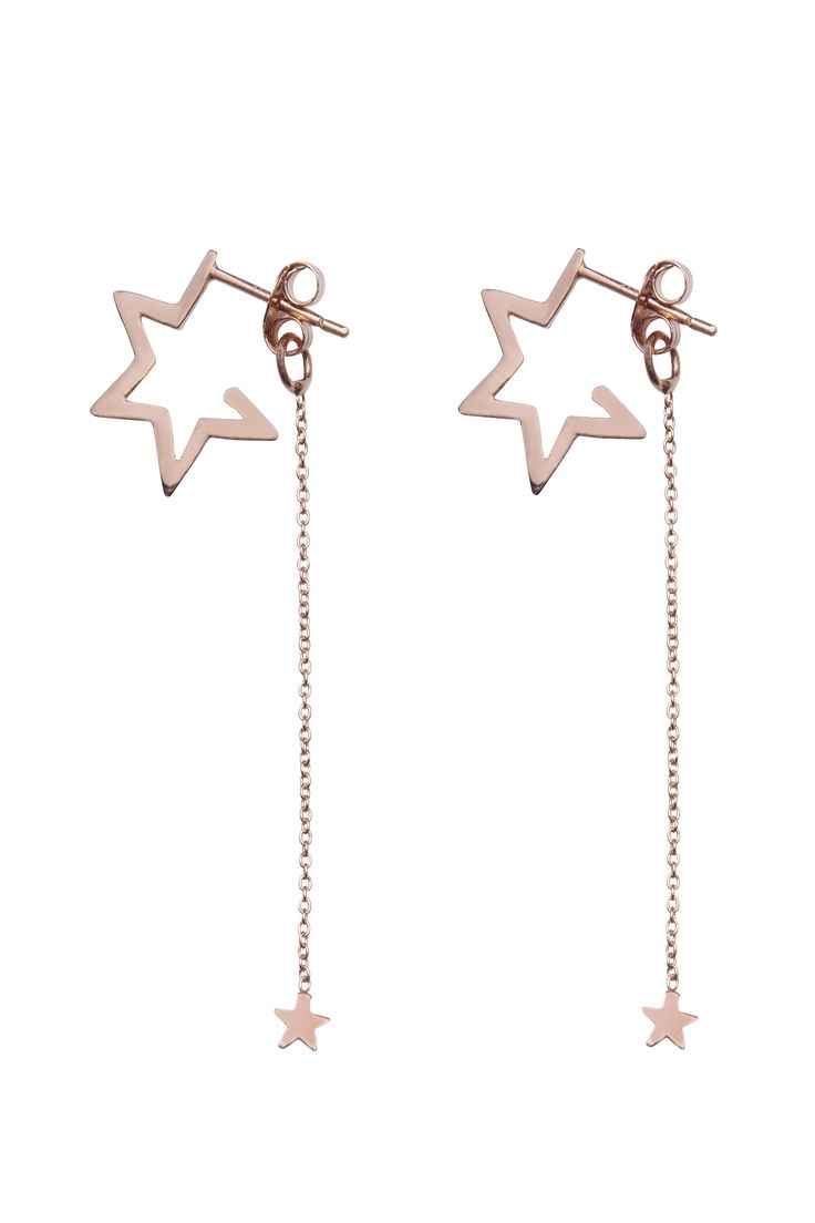Star Hoops with Falling Star Earring Backs Rose Gold