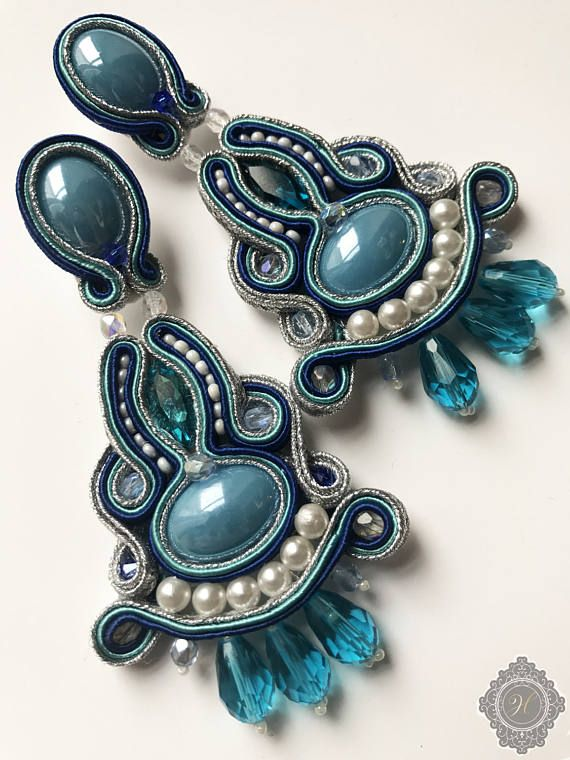 Blue silver crystal beaded soutache handmade earrings to