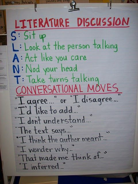 "They actually taught us this in college!   Literature Group Discussion: I like the ""slant"" acronym!"