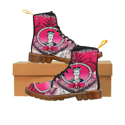Funky Red, Pink & Black Frida Kahlo With Vintage Flowers Canvas Combat Boots sold by Jantulov Designs. Shop more products from Jantulov Designs on Storenvy, the home of independent small businesses all over the world.