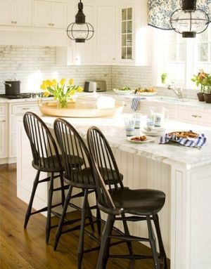 kitchen island white by Lesty Like the bar chairs with a high back and the backsplash, color theme