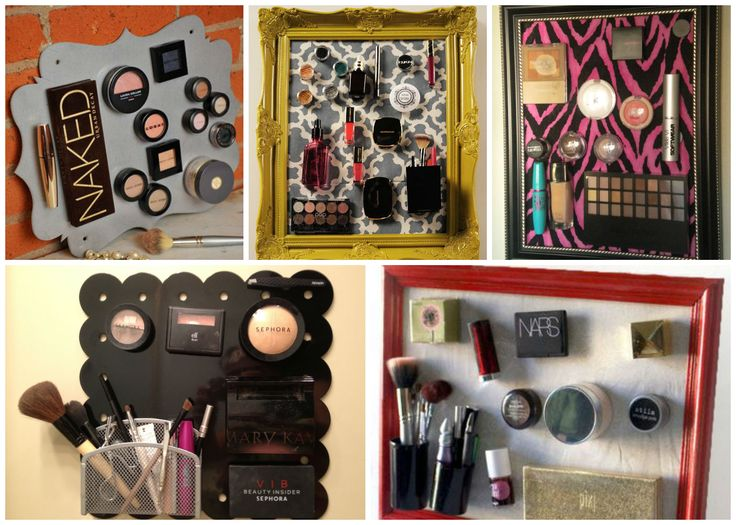Simple ideas to store your #makeup products -Magnetic boards. #beauty #skincare #storage #decor