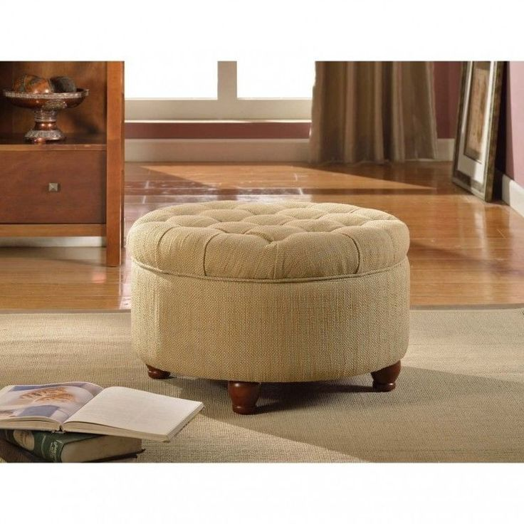 Round Tufted Storage Ottoman Footstool Footrest Brown Living Room Furniture Pouf Homepop