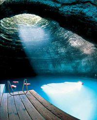 underground pool at Homestead Resort in Utah