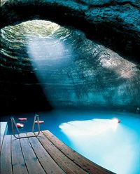 Underground pool (hot spring) at Homestead Resort in Midway, Utah. T