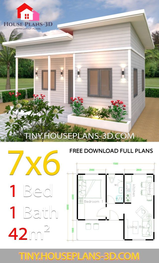 Tiny House Plans 7x6 With One Bedroom Shed Roof Tiny House Plans Cottage House Plans Tiny House Design Country Cottage House Plans