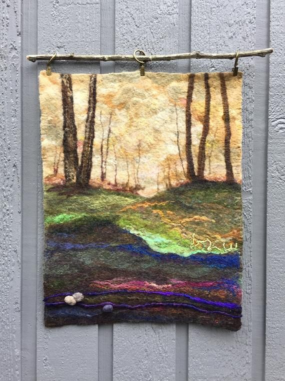 No 46 Walk In The Woods Wet Felted Wall Hanging Etsy Felt Wall Hanging Felt Art Fiber Art